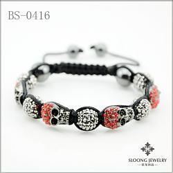 Браслет с большим черепом.-skull-shamballa-bracelet-bs-0416-jpg