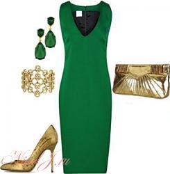 Золотые туфли - с чем носить-s-chem-nosit-zelenoe-plate-jpg