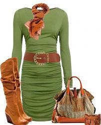 Как правильно сочетать зеленое платье?-korichnevyie-sapogi-sharf-remen-i-sumka-kak-aksessuar-k-zelenomu-platyu-jpg