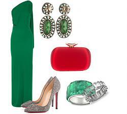 Как правильно сочетать зеленое платье?-shouldered-emerald-green-dress-outfit-combination-jpg